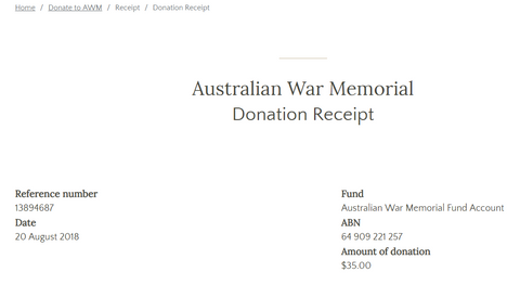 August War Memorial Donation - 20th August 2018
