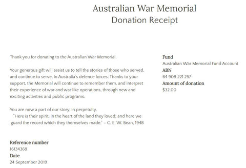 September 2019 War Memorial Donation