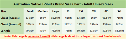 Australian Native T-Shirts Brand Size Chart - Adult Loose Fit