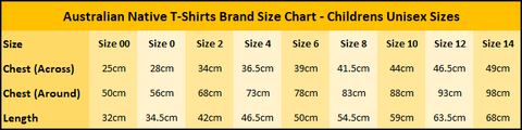 Australian Native T-Shirts - Childrens Size Chart