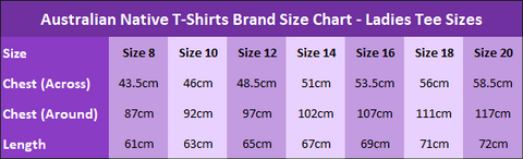 Australian Native T-Shirts - Ladies Tee Size Chart