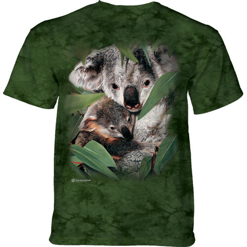 Cuddling Koalas Adults T-Shirt (Green Tie Dye)