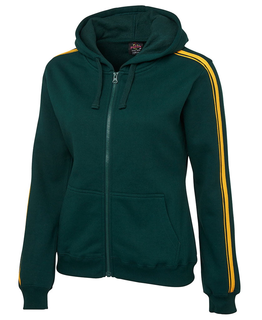 Aussie Sports Ladies Tracksuit Jacket (Green with Gold Stripes) - Front