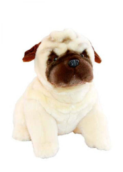 Pug Dog Soft Plush Toy in Sitting Pose (28cm)