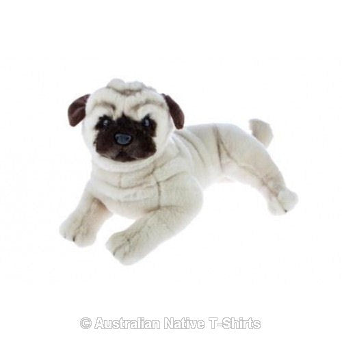 Pug Dog Soft Plush Toy in Laying Pose (44cm)