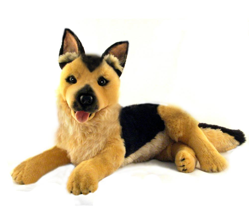 Large German Shepherd Dog Soft Plush Toy in Laying Pose (40cm)