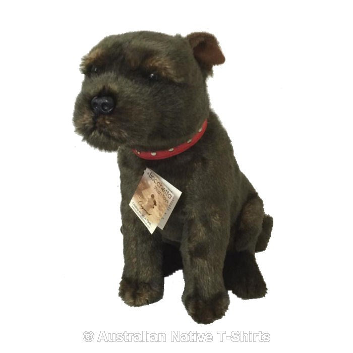 Sitting Brindle Staffy Dog Plush Toy (35cm)