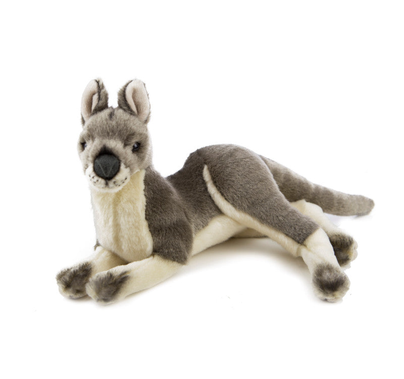 Laying Grey Kangaroo Soft Plush Toy (Small 35cm)