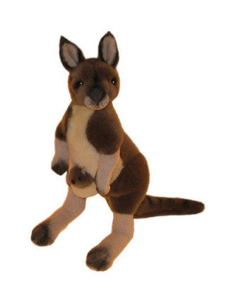 Grey Kangaroo & Joey Soft Plush Toy (28cm)