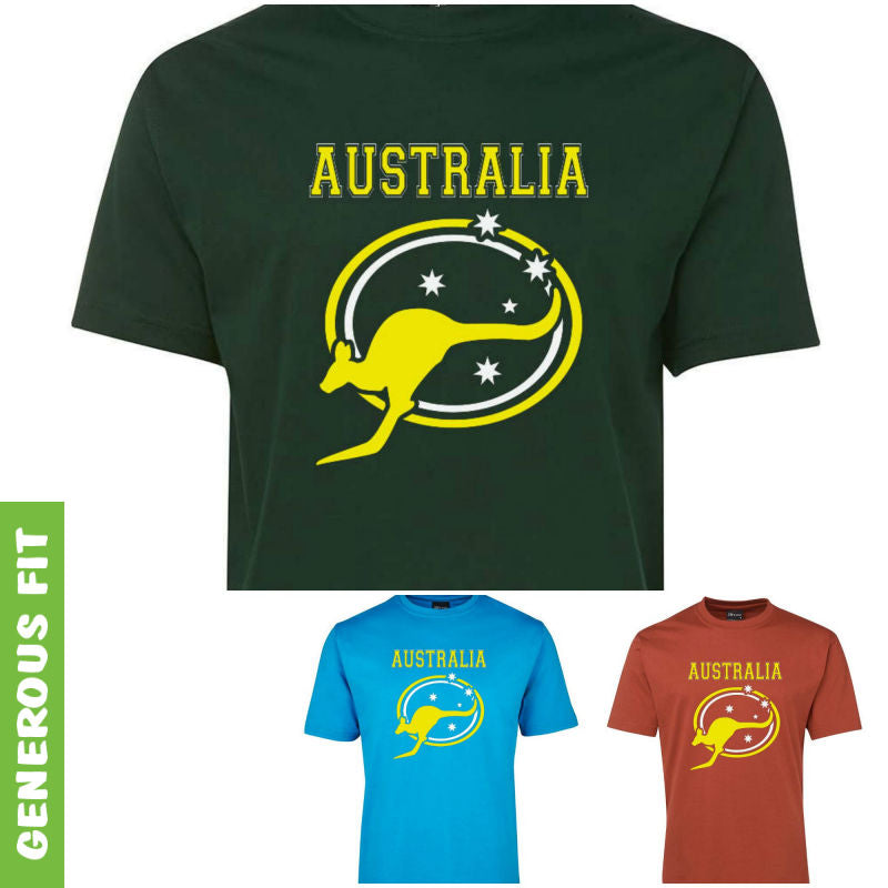 Australia Roo & Stars Adults T-Shirt (Various Colours)