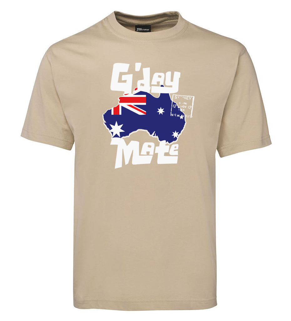 G'day Mate Map T-Shirt (Bone, Adult Sizes)