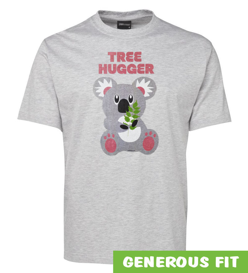 Tree Hugger Koala Adults T-Shirt (Snow Marle)
