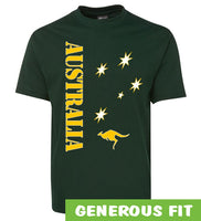 Aussie Sports Adults T-Shirt (Bottle Green, Yellow Print)