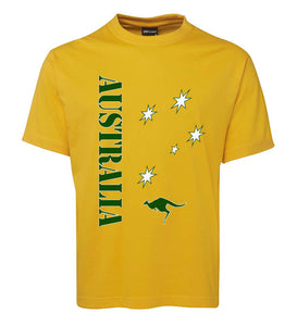 Gold & Green Aussie Sports T-Shirt (Yellow, Adult Sizes)