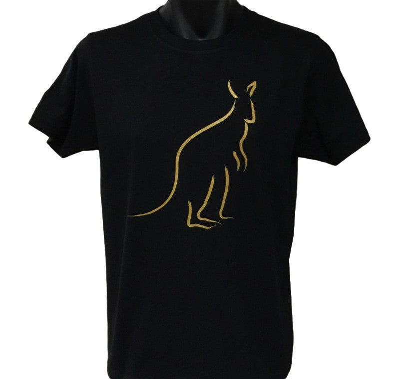 Gold Print Kangaroo T-Shirt (Black, Adult Sizes)