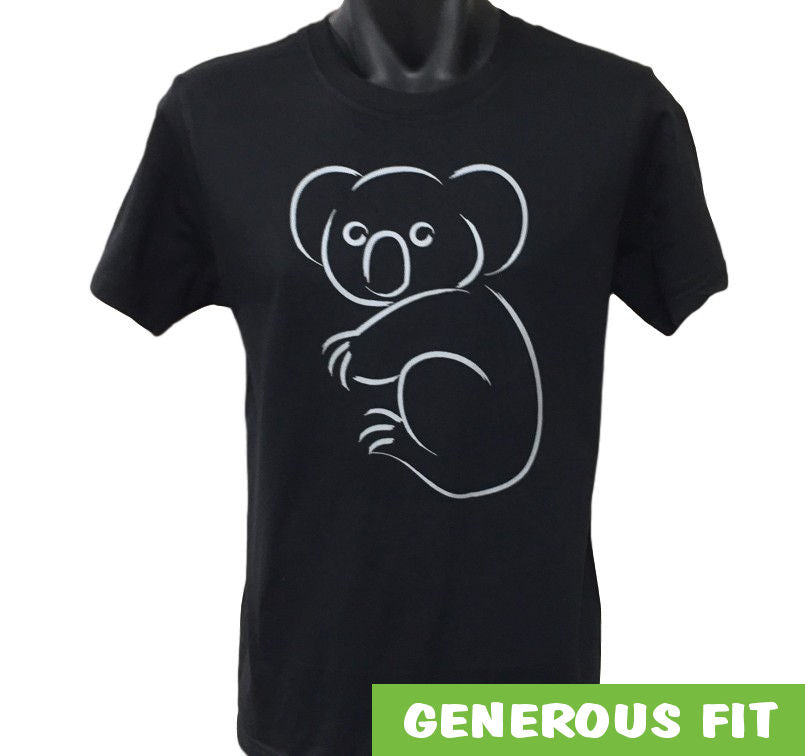 Silver Print Koala Adults T-Shirt (Black)