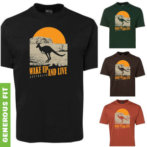 Australia Wake up & Live Adults T-Shirt (Various Colours)
