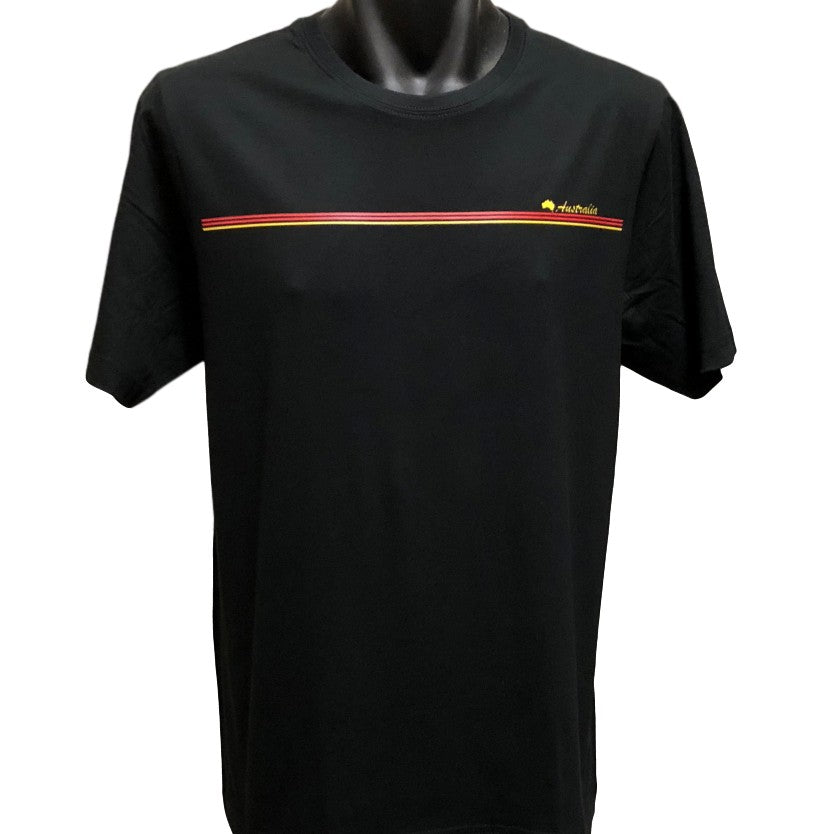 Aboriginal Australia Stripe T-Shirt (Black) - Adult Sizes