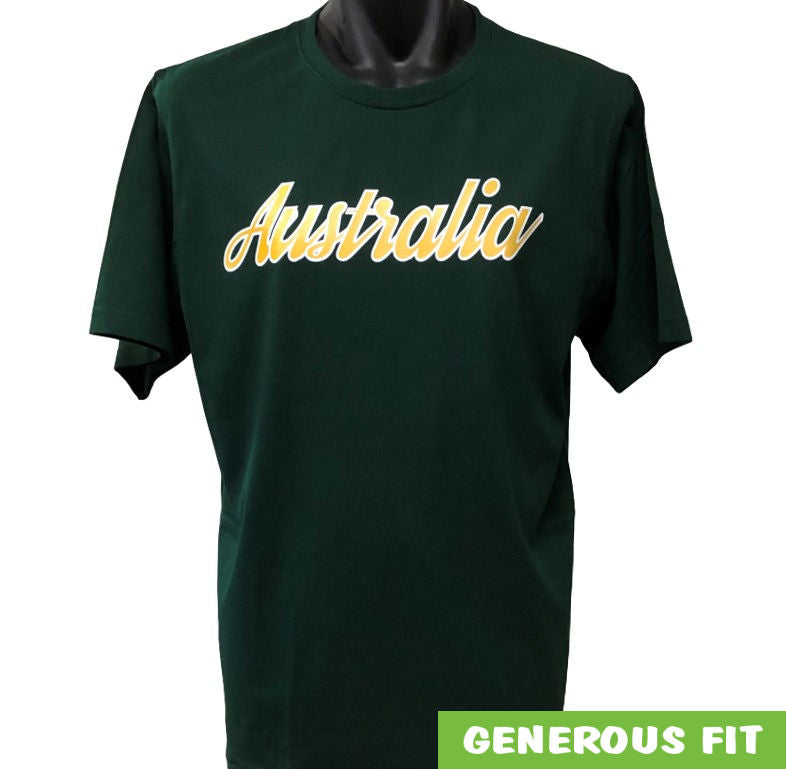 Australia Logo Sports Colours T-Shirt (Bottle Green)