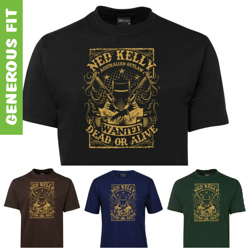 Ned Kelly Dead or Alive T-Shirt (Various Colours, Vegas Gold Print)