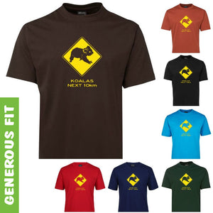 Koalas Next 10km Road Sign Adults T-Shirt (Various Colours)