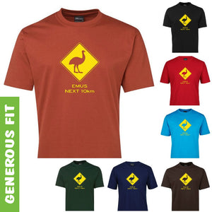 Emus Next 10km Road Sign Adults T-Shirt (Various Colours)