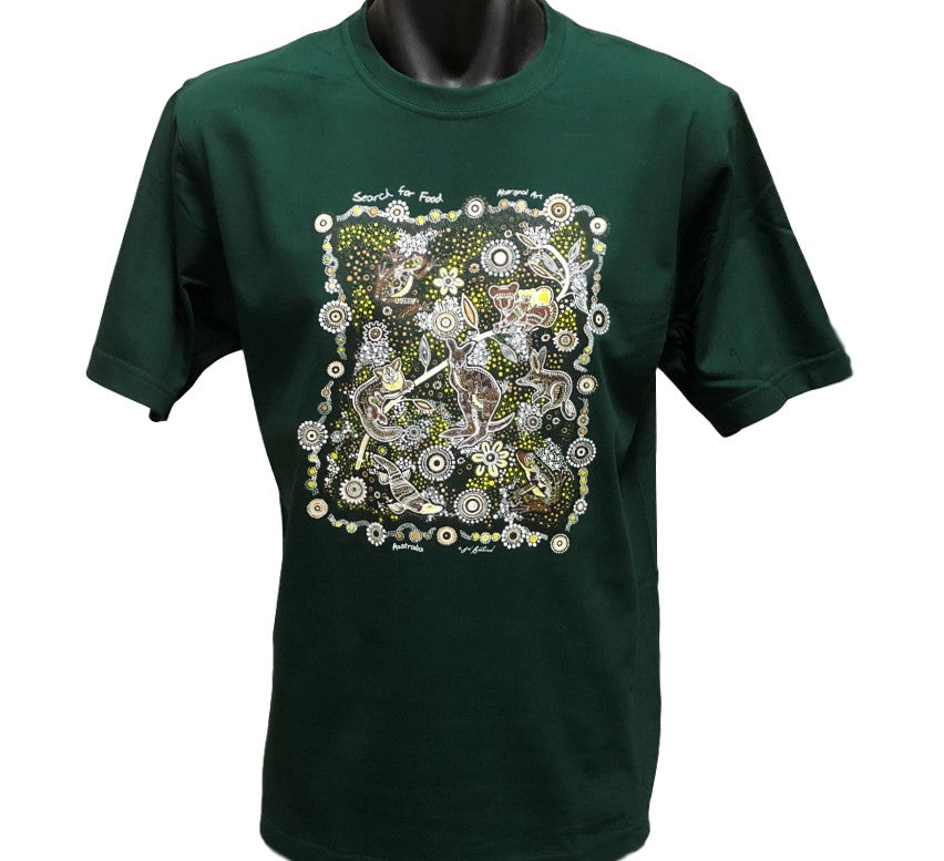 Search for Food Aboriginal Dot Art Adults T-Shirt (Bottle Green) *Limited Edition*