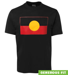 Aboriginal Flag Adults T-Shirt (Black) - Loose Fit & Plus Size