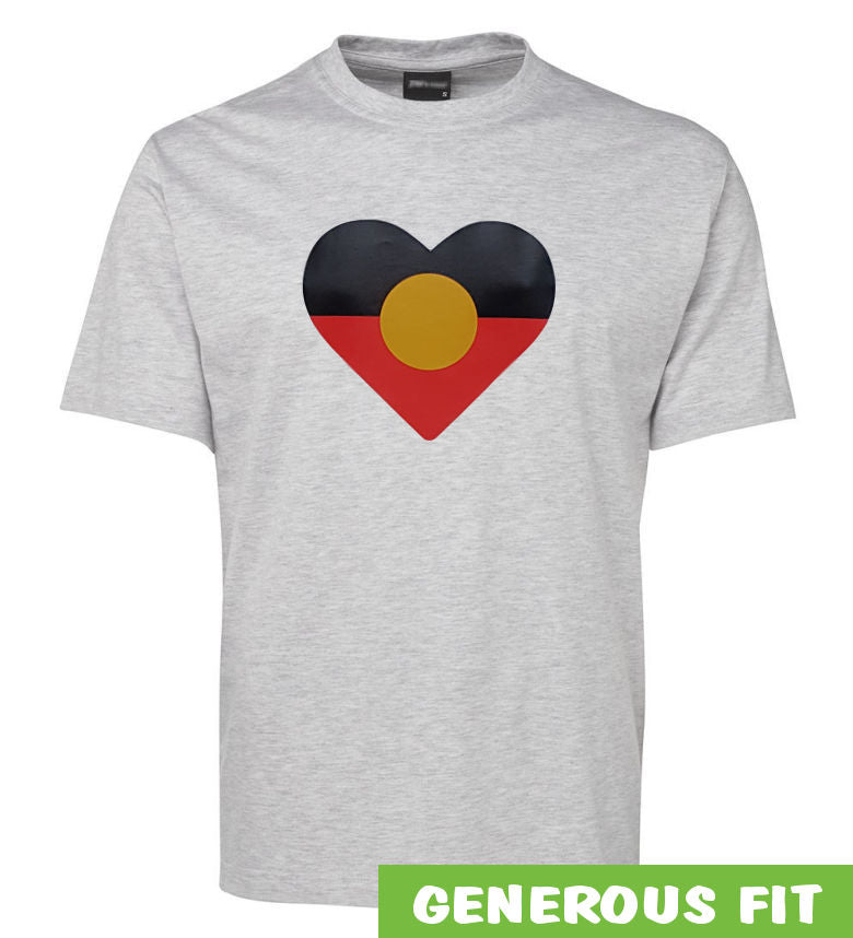 Heart Shape Aboriginal Flag Adults T-Shirt (Snow Grey)