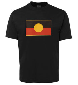 Aboriginal Flag Adults T-Shirt (Shiny Print, Black, Generous Fit)