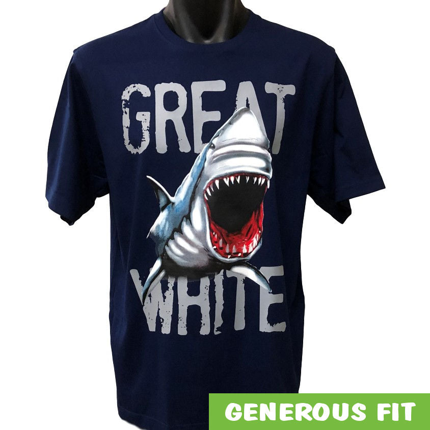 Great White Shark Adults T-Shirt (Jnr Navy)