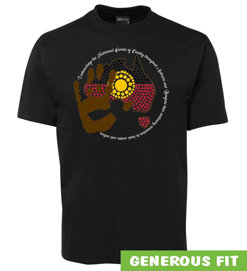 Acknowledgement of Country Aboriginal Flag Adults T-Shirt (Black)