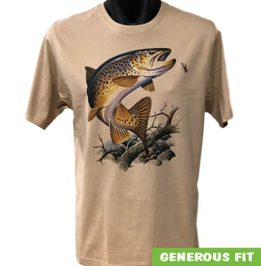 Brown Trout Fishing Adults T-Shirt (Bone)