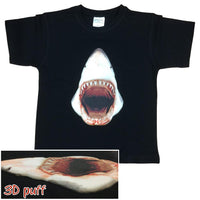 3D Great White Shark Childrens T-Shirt (Black)
