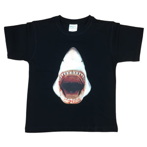 3D Great White Shark T-Shirt (Black, Childrens Sizes)