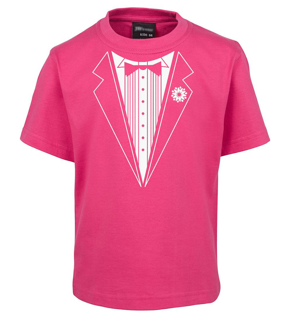 Children/'s Printed Pink Tie Cute Tuxedo Funny Long sleeve kids T-Shirt Cool Gift
