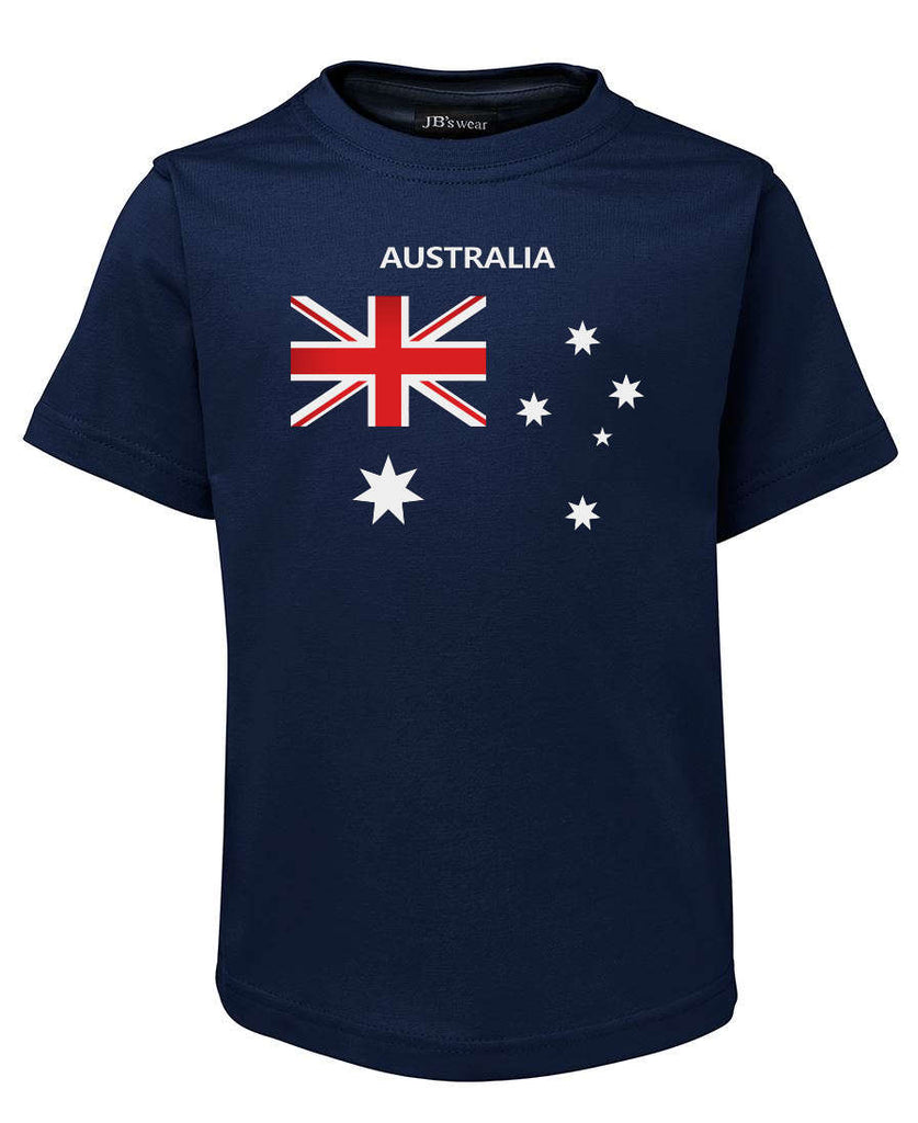 Australian Flag T-Shirt (Childrens Sizes, Jnr Navy)
