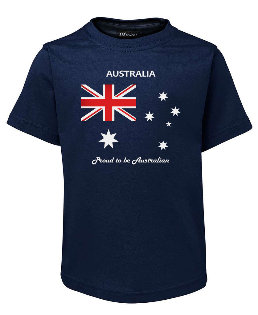 Proud to be Australian T-Shirt (Childrens Sizes, Jnr Navy)