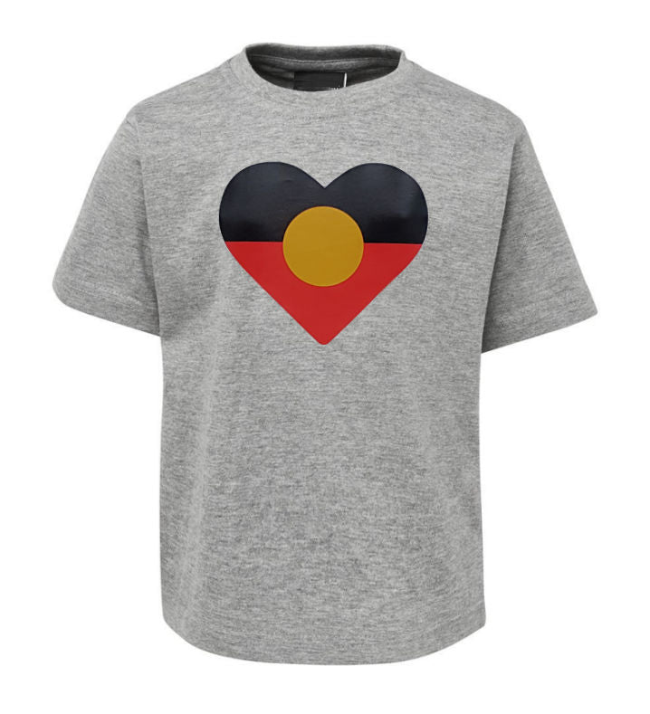 Heart Shape Aboriginal Flag T-Shirt (Grey Marle, Childrens Sizes)