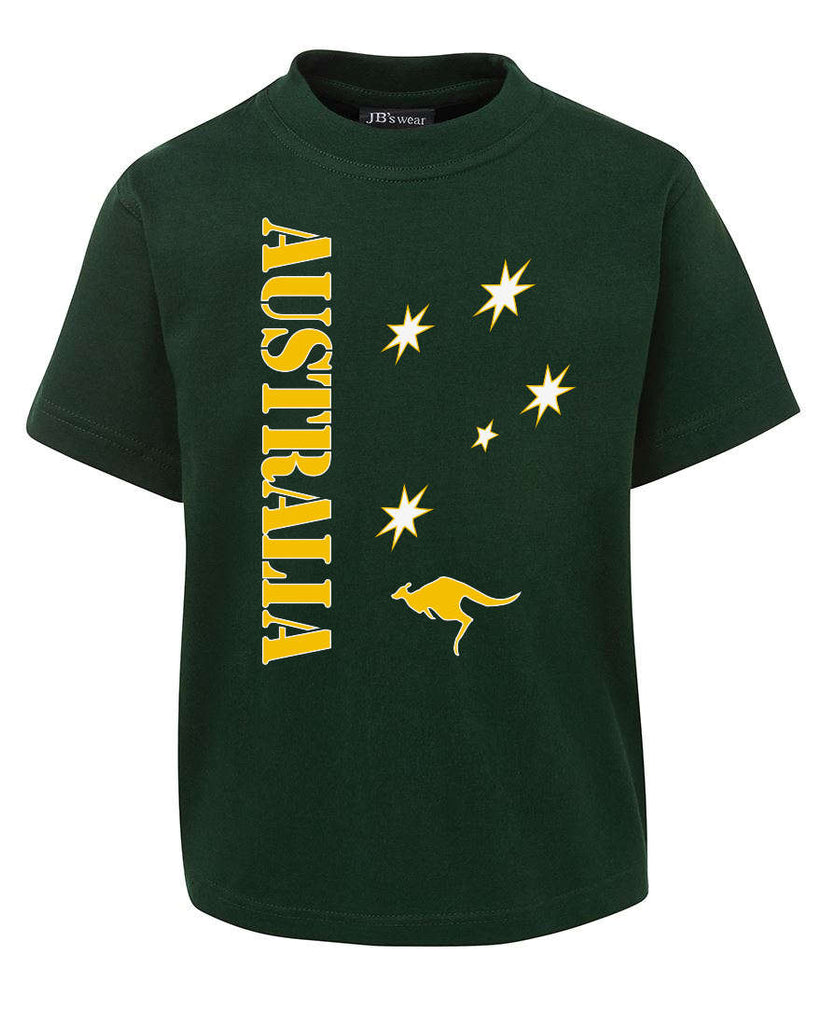 Green & Gold Aussie Sports T-Shirt (Childrens Sizes, Bottle Green)
