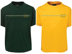 Aussie 3 Kangaroo Stripe Childrens T-Shirt (Bottle Green or Yellow Gold)