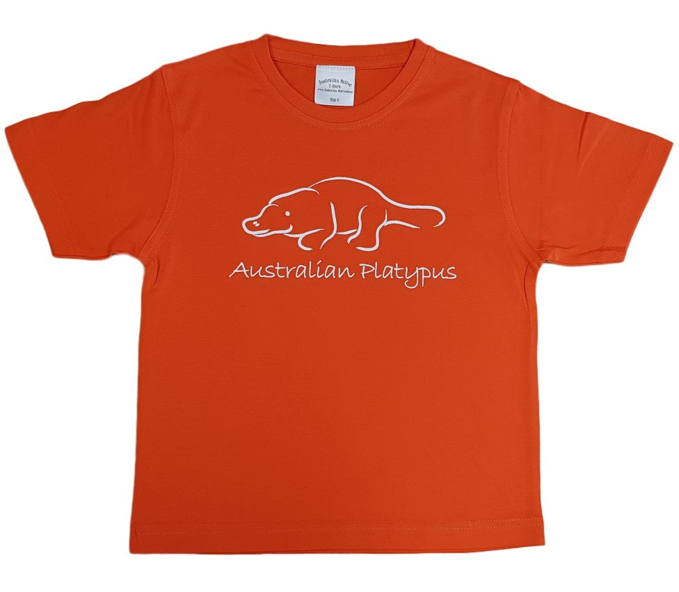 Line Art Platypus Childrens T-Shirt (Orange)