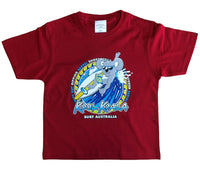 Kool Koala Surf Australia Childrens T-Shirt (Dark Red)