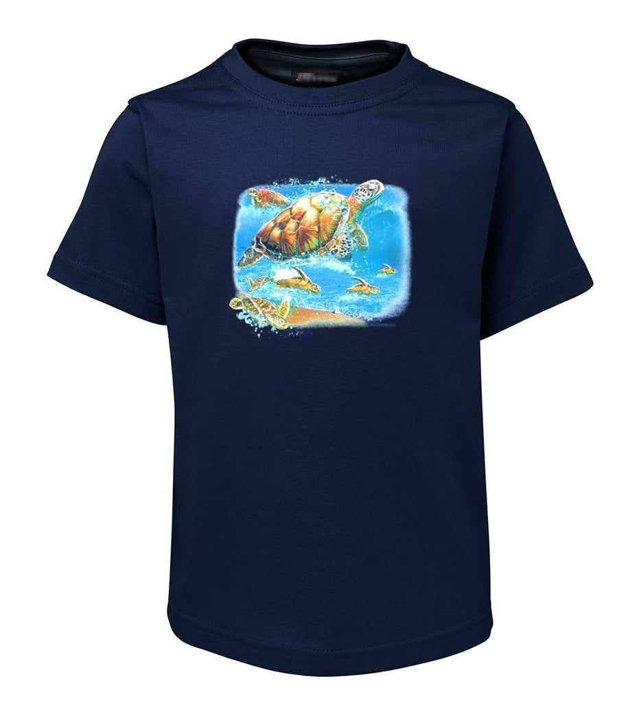 Turtles Into The Sea T-Shirt (Jr Navy, Childrens Sizes)