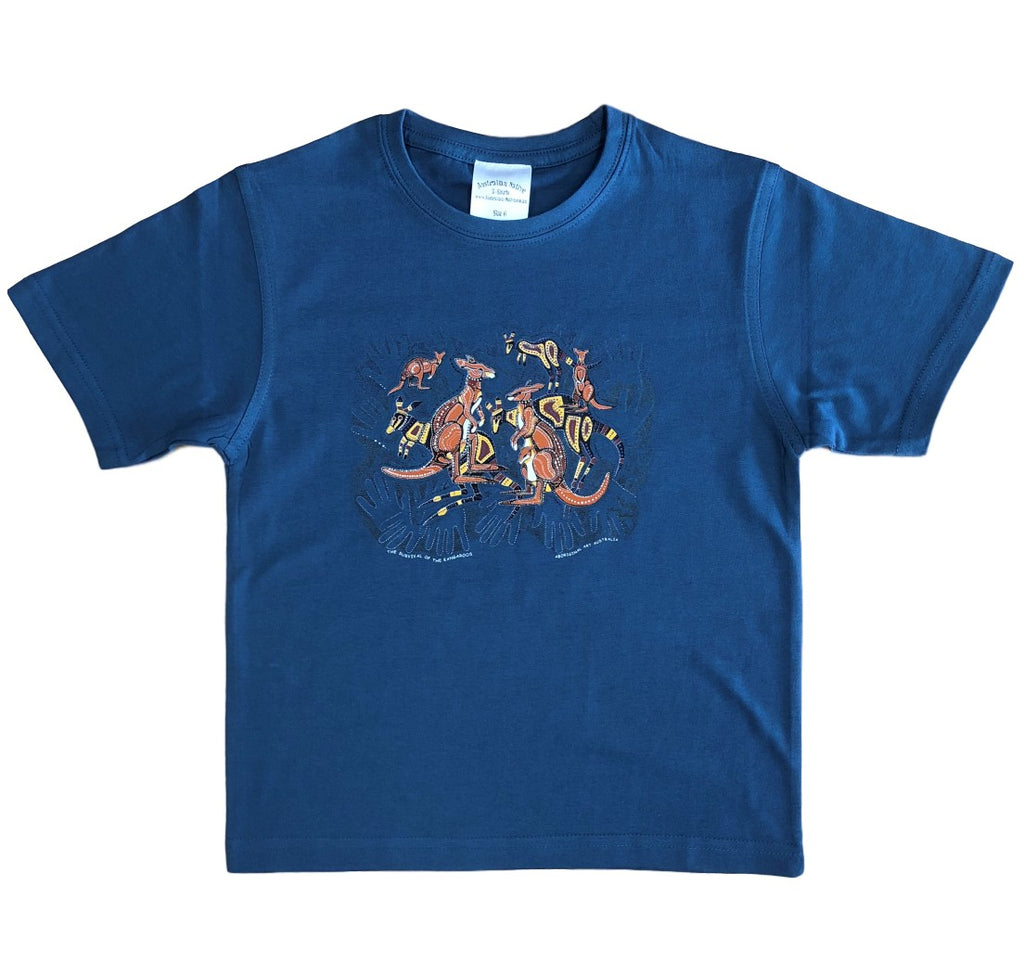 Kangaroo Survival Childrens T-Shirt (Indigo) *Limited Edition*