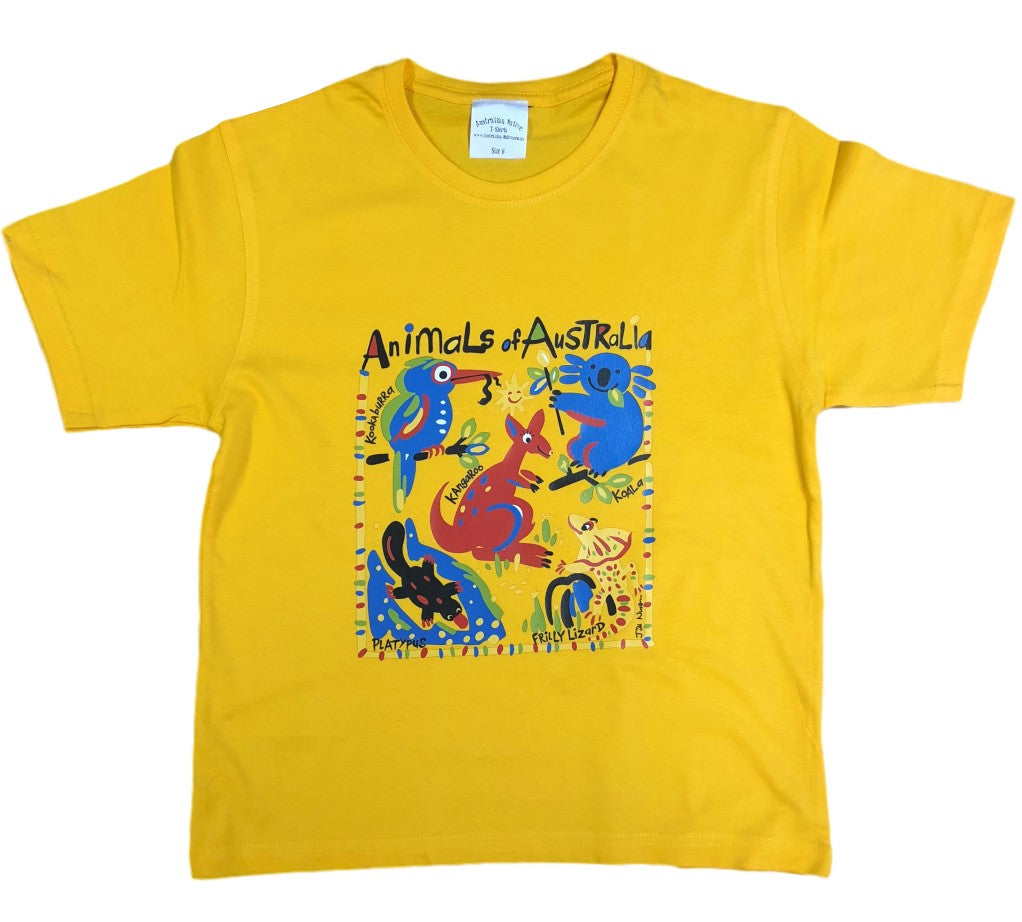 Jills Australian Animals Childrens T-Shirt (Yellow Gold)