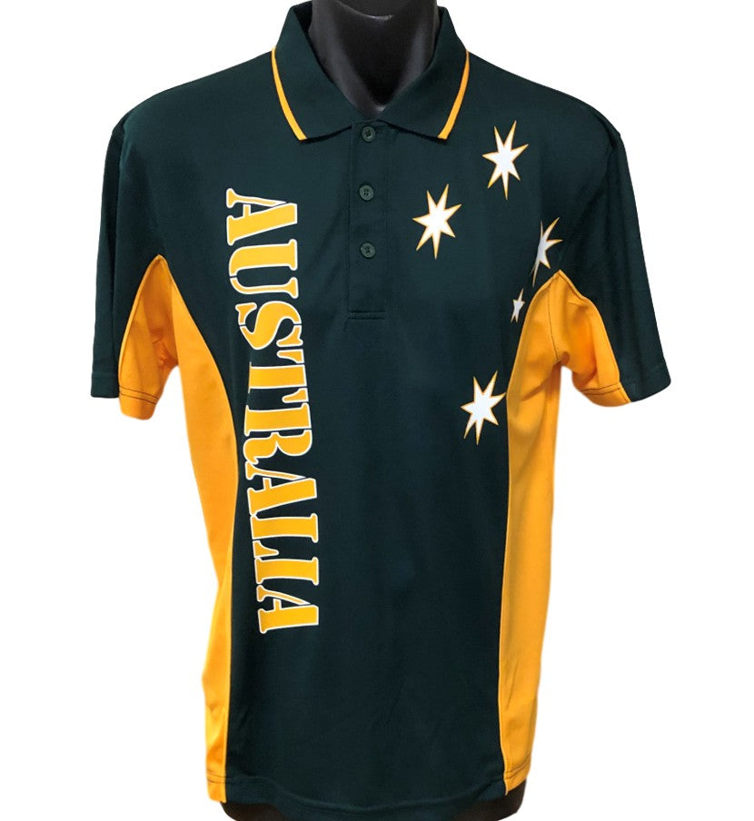 Australia Sports Polo (Green with Gold Sides)