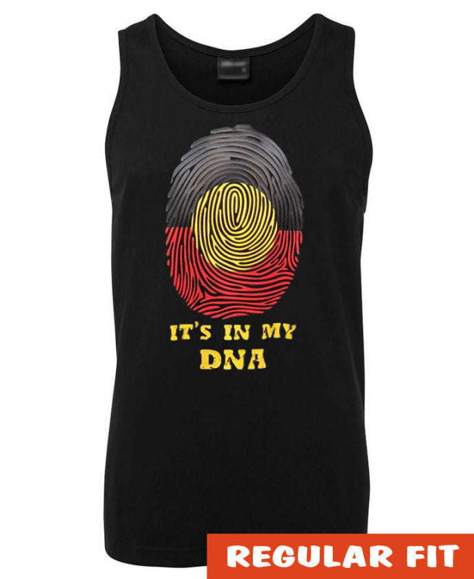 Aboriginal Flag It's In My DNA Mens Singlet (Black)