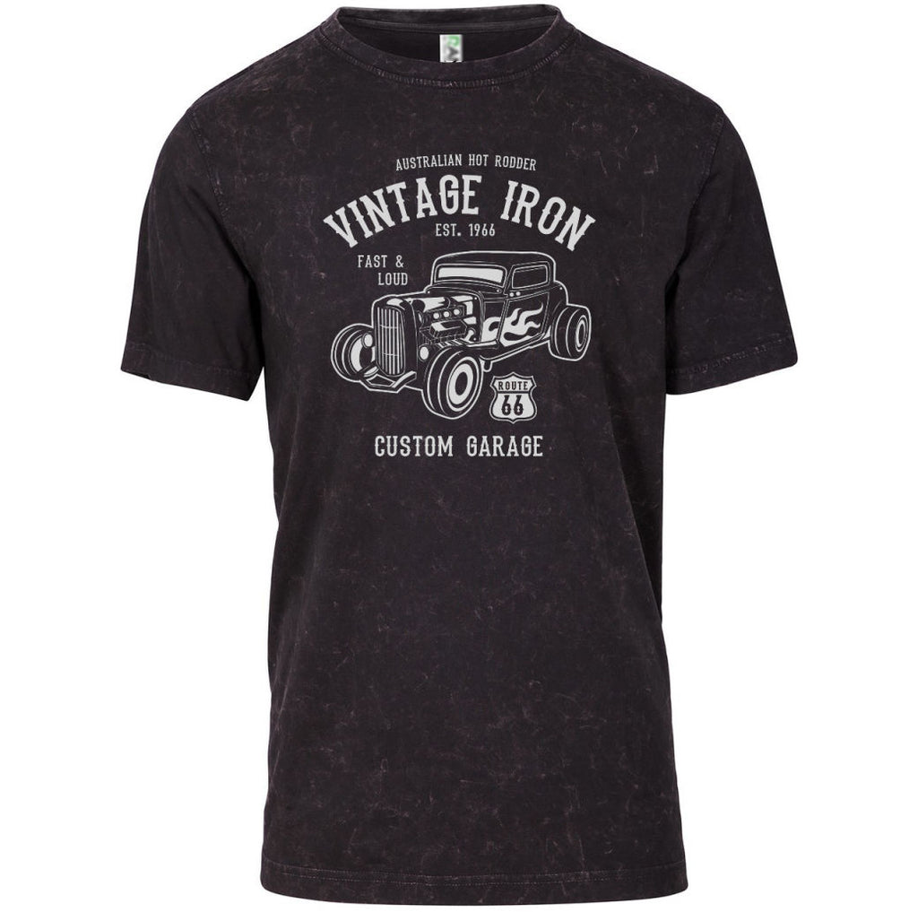 Vintage Iron Australian Hot Rod Adults T-Shirt (Black Stonewash)