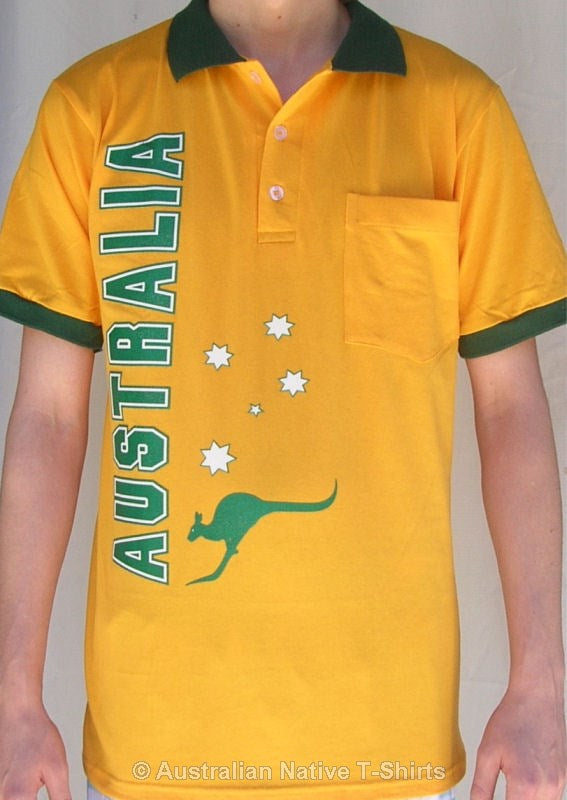 Australia Stars & Crest Polo Shirt (Gold & Green)